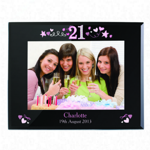 Personalised 21st Birthday Black Glass 5x7 Photo Frame